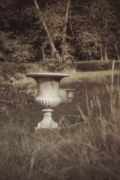 Urns in the Overgrown Gardens of a Plantation Mansion