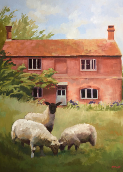 Three Sheep at an English Country Home