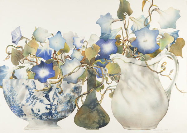 Morning Glories in Blue and White Bowl with White Jug