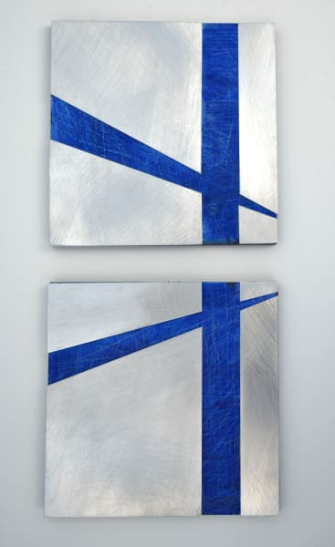 Intersections (Blue), diptych
