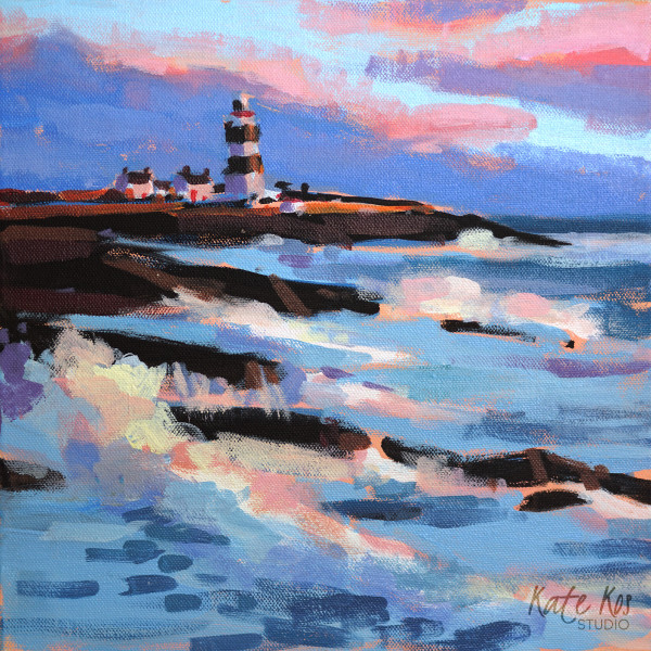 Lighthouse and Pink Sunset