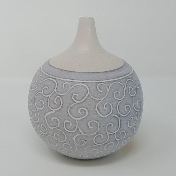 BRI050, Grey Carved Bottle