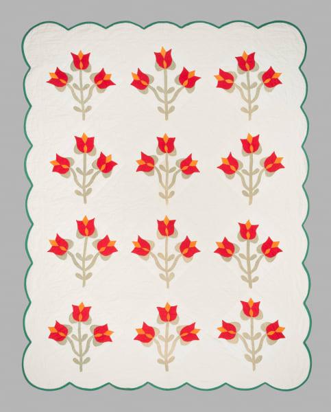 Appliqued Pennsylvania Dutch Tulip Quilt
