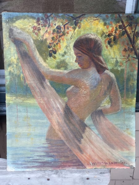 Original unframed painting on board of woman in water