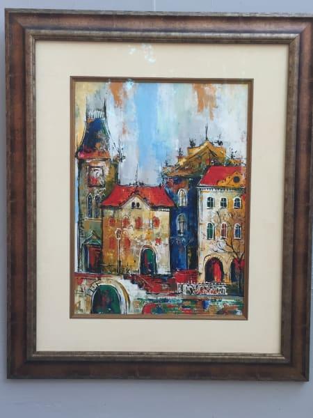Original oil on canvas bright colors under glass