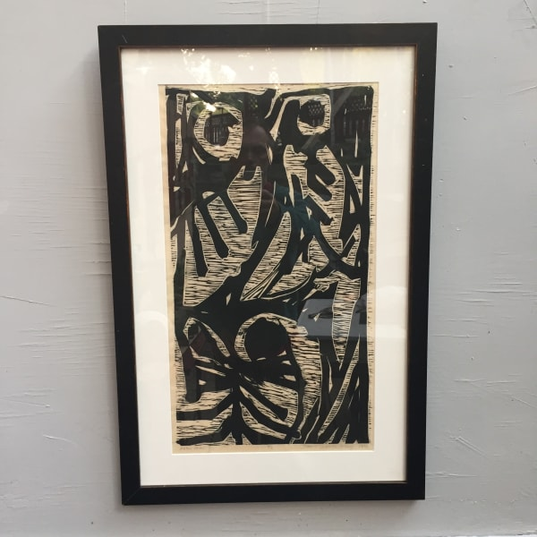 Framed James Quentin Young wood cut