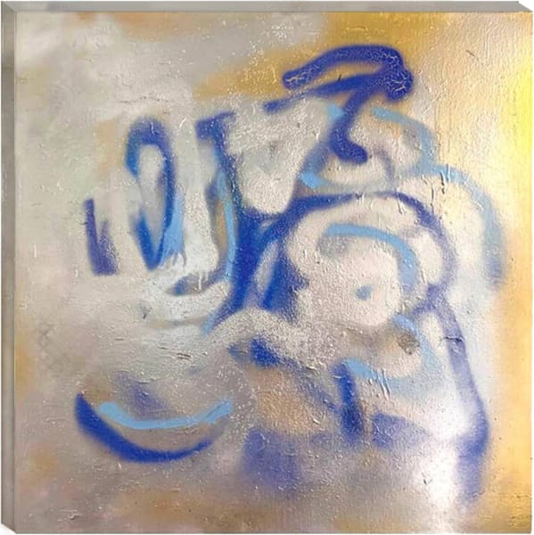 BLUE TAGGED SPRAY PAINTING WITH GOLD AND SILVER METALLICS