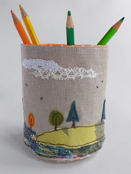 Fabric Pot with Trees and Hills