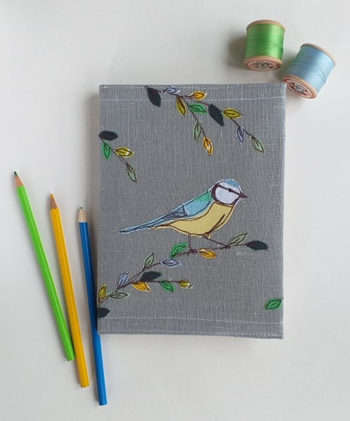 Hardback Notebook with a Blue-tit Removable Cover