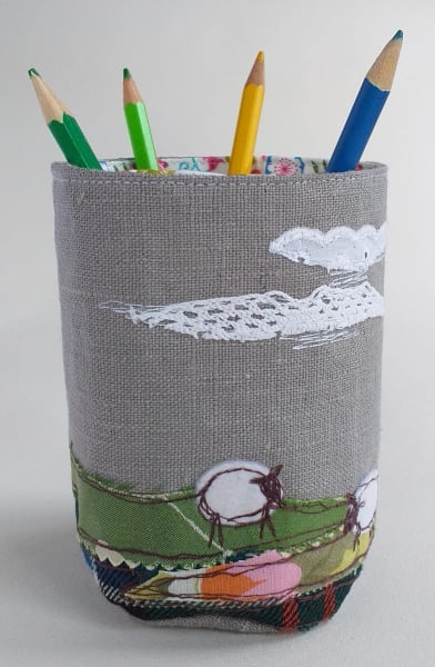 Fabric Pot with Sheep