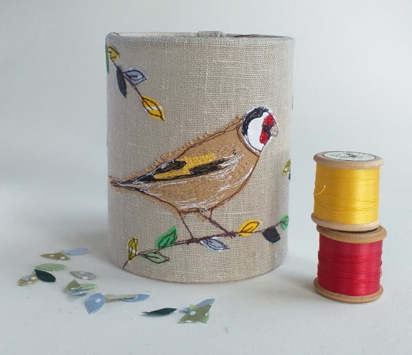 Lantern with Goldfinch for battery tealight