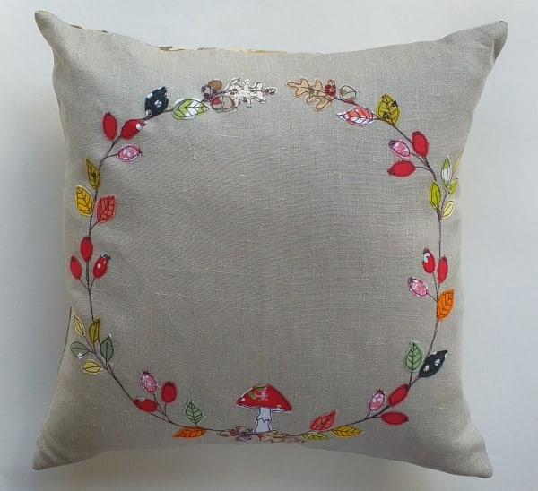 Cushion with Autumn Wreath