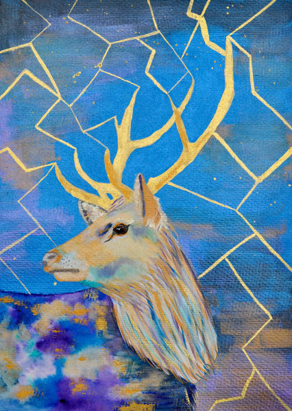 Stag in Blues and Gold Original Framed Mixed Media Contemporary Portrait