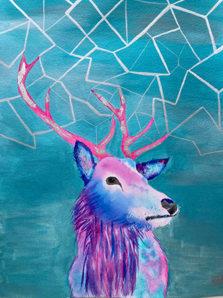 Stag in Vibrant Pinks and Blues Original Framed Mixed Media Contemporary Portrait