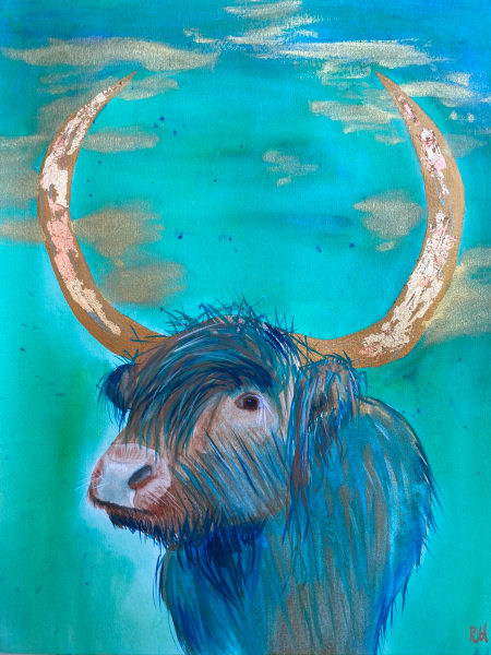 Highland Cow in Peacock Green, Turquoise and Gold Original Framed Mixed Media Portrait