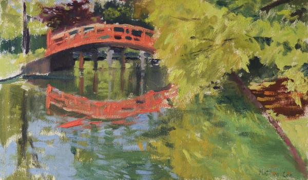 Red Bridge and Cedar Tree