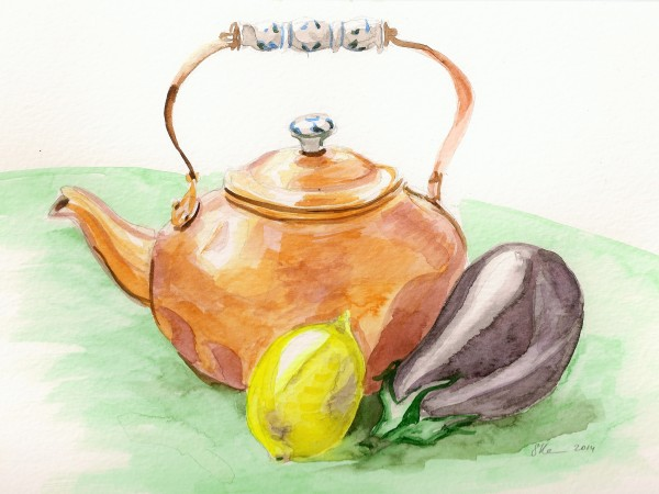 Still Life with Teapot, Lemon and Eggplant