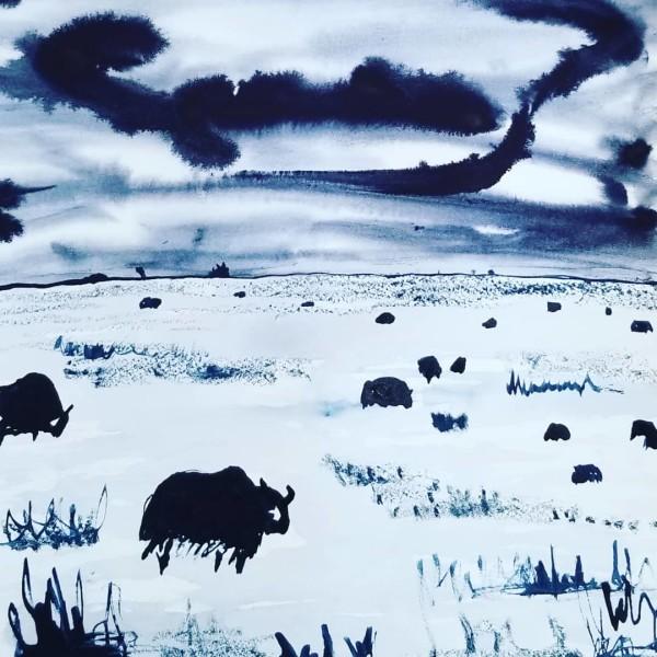 Yaks Under a Stormy Sky