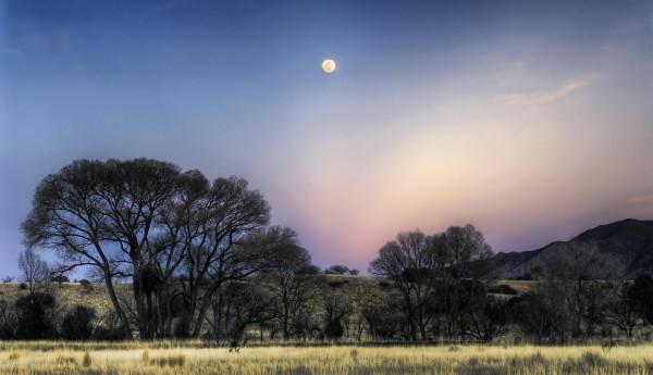 Moonrise over Huachuca Mountains, Canelo
