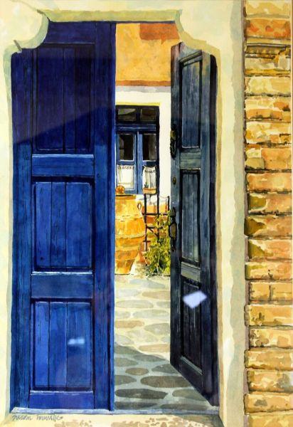 The Blue Gates from Ios, Santorini, Greece