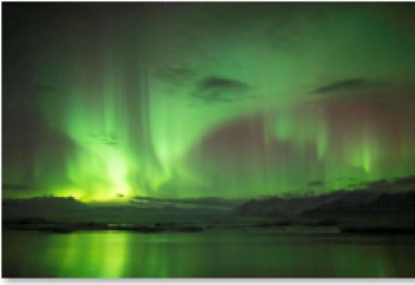Northern Lights Over Jokulsarlon Lagoon, Iceland