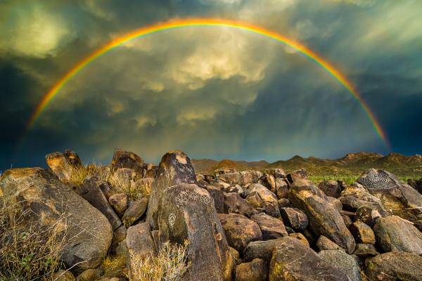 Rainbow Over Ancient Petroglyphs