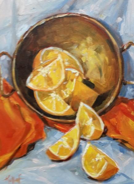 Oranges in Brass Bowl