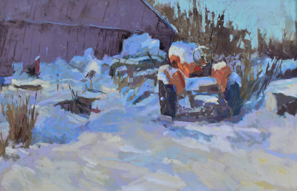 Snow Covered Tractor Orange and Blue
