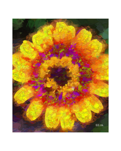 Red and Yellow Impasto Daisy
