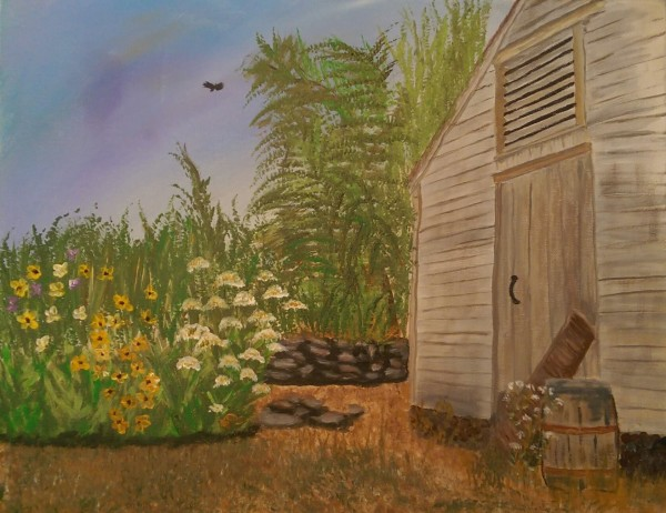 Barn with Summer Flowers