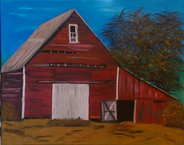 Big Red Barn with tree