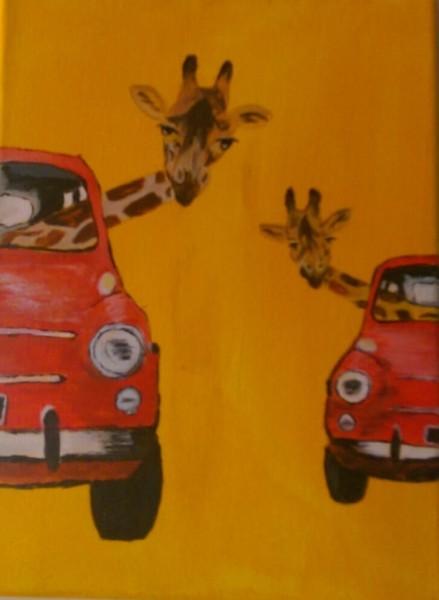 Giraffes in Red Cars