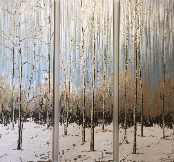 Aspens in the Snow #21 triptych