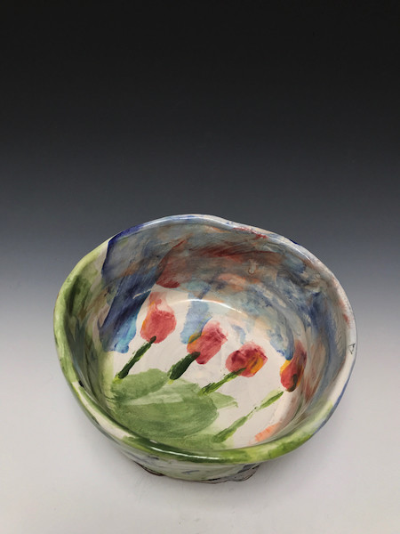 Majolica Dog Bowl with Tulips