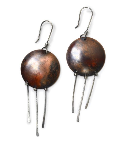 Shield Earrings with silver dangles