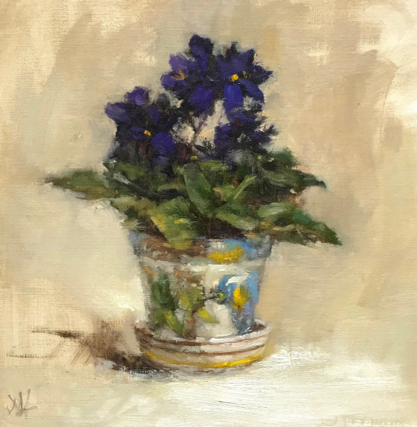 Violets in Little Italian Pot