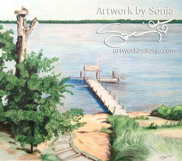 Beach Tree Pier Drawing by Sonja