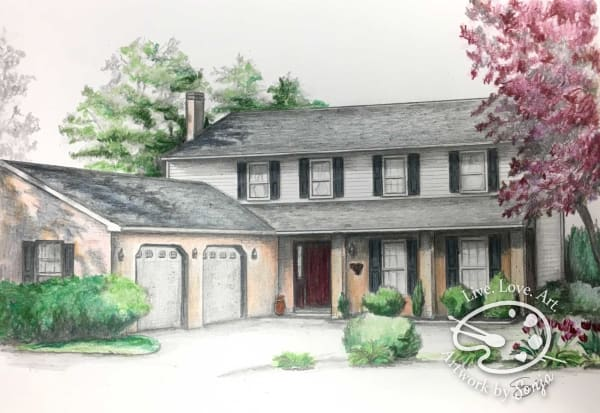 Gray & Colorful House Drawing