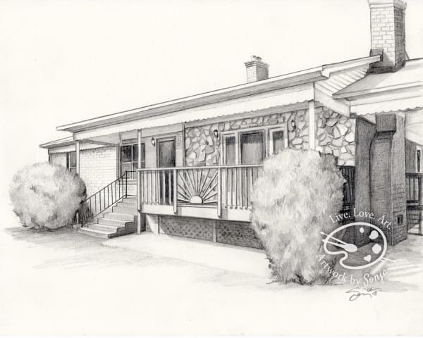 One Story Stone and Wood House Drawing