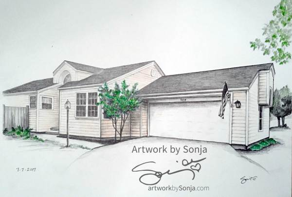 Realtor Gift House Drawing