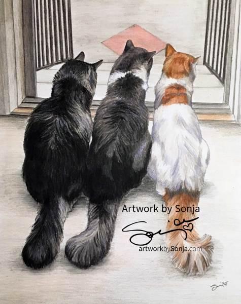 Three Cats Portrait Drawing