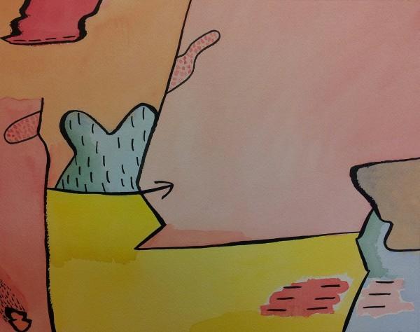 Cartoon Landscape with Arrow