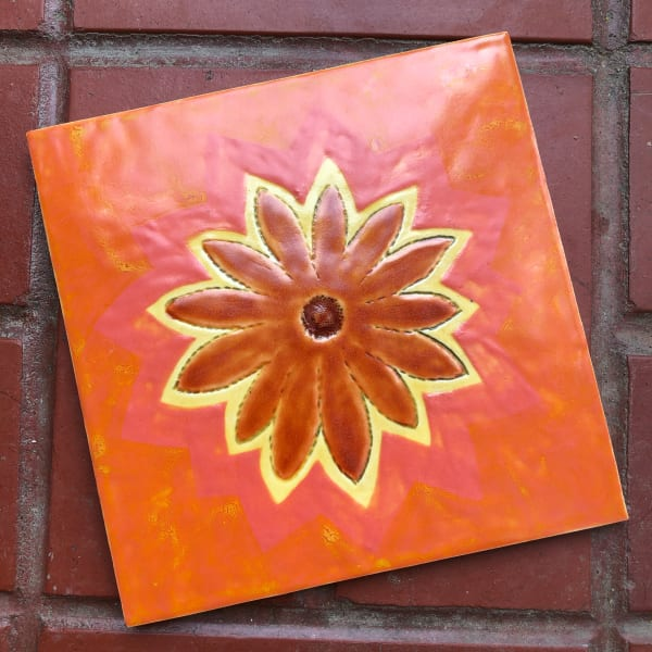 Deep Orange Happy Flower Daisy Tile