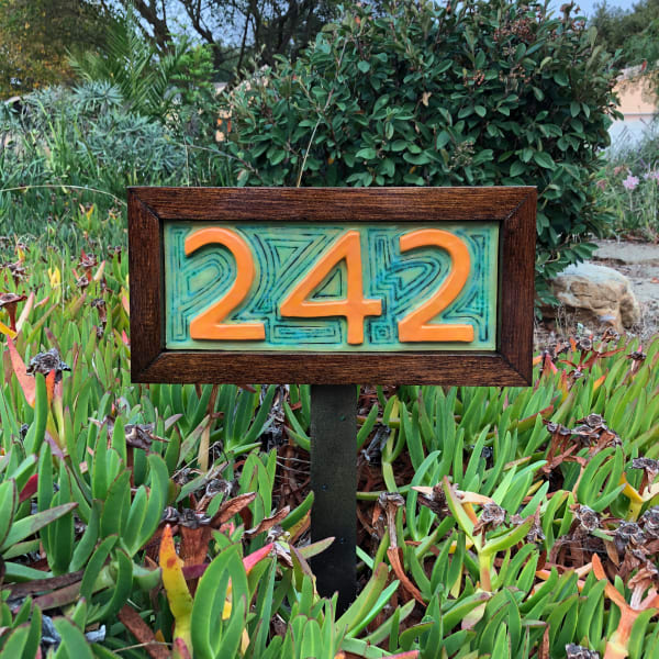 Custom Home Address Plate, with wood frame and stand