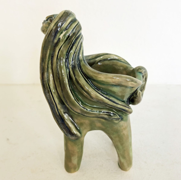 Green lady with long locks bowl