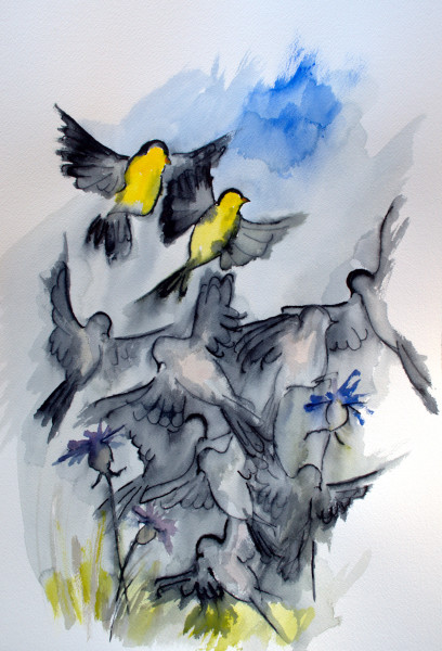sky people: two finches rise