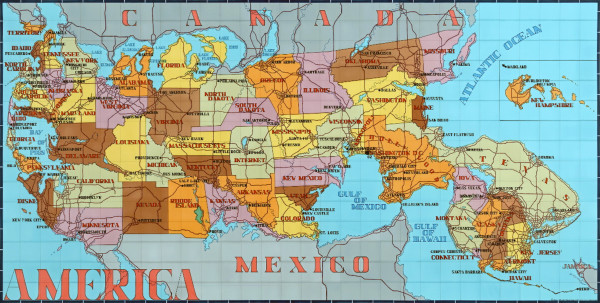 America (Key Map of the States and their Capitals)