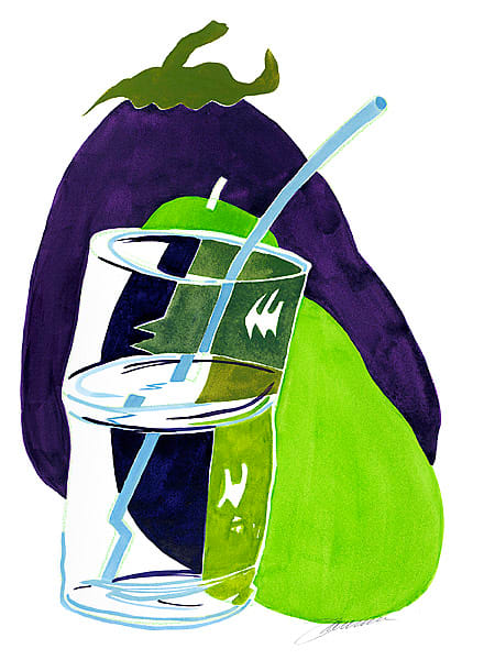 Take a Sip: Eggplant, Pear and a Glass of Water