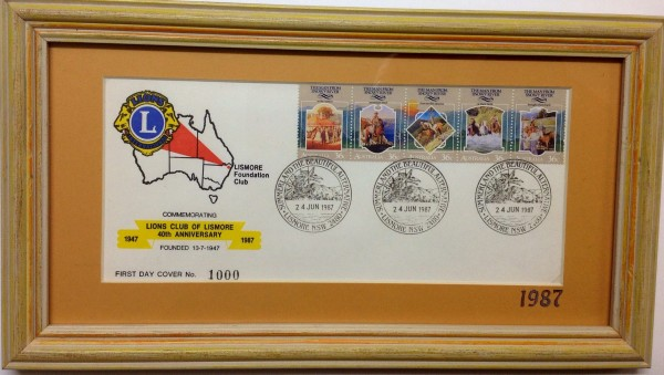 LIONS First day cover 40th anniversary Lismore 1987 Australia