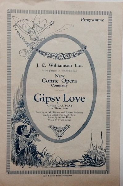 Gipsy Love Musical Play Programme 1950s